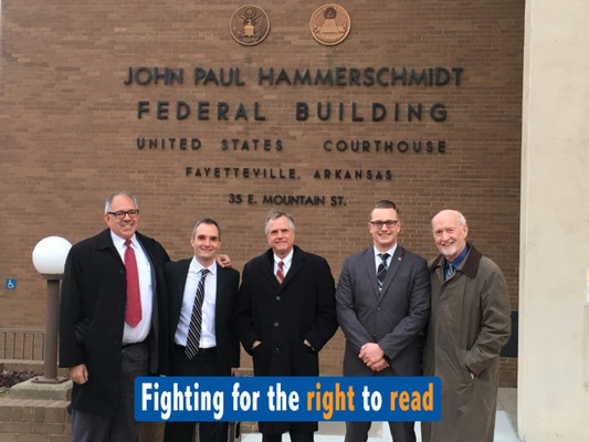 HRDC's dedicated legal team in Fayetteville, Arkansas fighting in court to allow prisoners at the jail in Baxter County to access reading materials outside of the jail's postcard-only policy