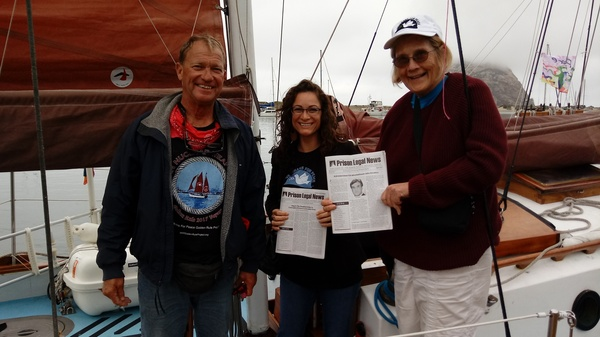 Will van Atta (L), retired Army colonel Ann Wright (R), and friend at Morro Bay, CA