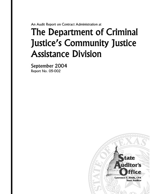 Audit Contract Administration - Texas DCJ, TX SAO, 2004