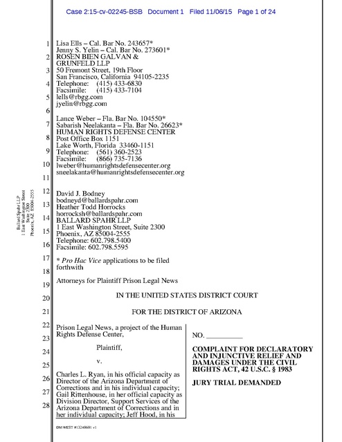b8bcdace652f3 Prison Legal News v. Ryan, AZ, Complaint, Arizona DOC Censorship ...